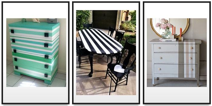 how to paint stripes on furniture